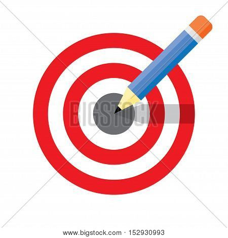 Dartboard pencil and icons. Business achievement and success concept design. Straight to the aim symbol. Flat style vector illustration isolated on white background.