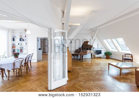 batutiful home interior - living room and dining area in attic apartment