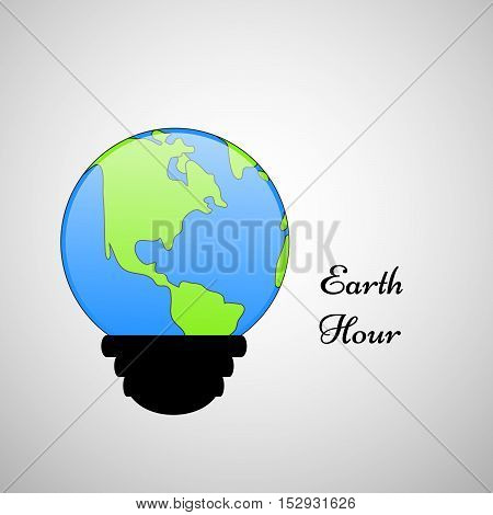 Illustration of LED bight with earth for earth Hour