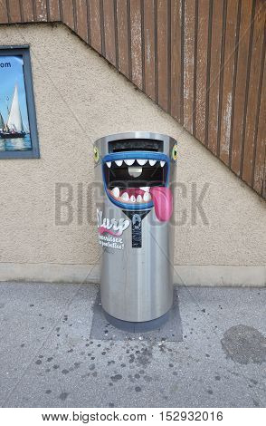 Montreux Switzerland June 2, 2014 stainless bin can talk while you put trash into it