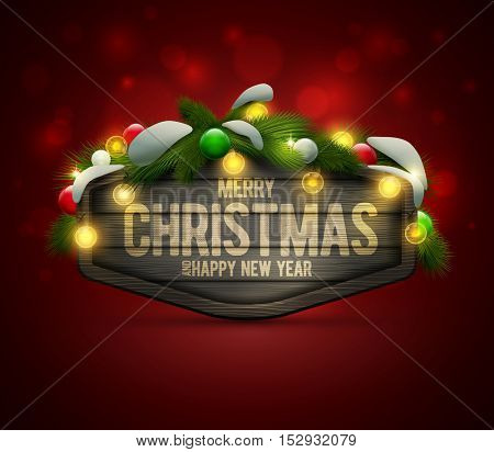 Vector realistic illustration of wooden Christmas and New Year message board with pine branch, balls and light bulbs. Elements are layered separately in vector file.
