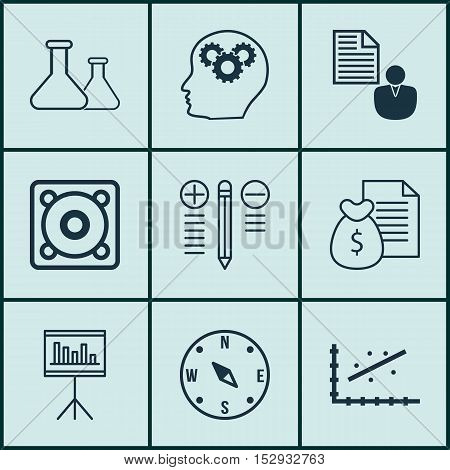 Set Of 9 Universal Editable Icons For Marketing, Seo And Education Topics. Includes Icons Such As Ch