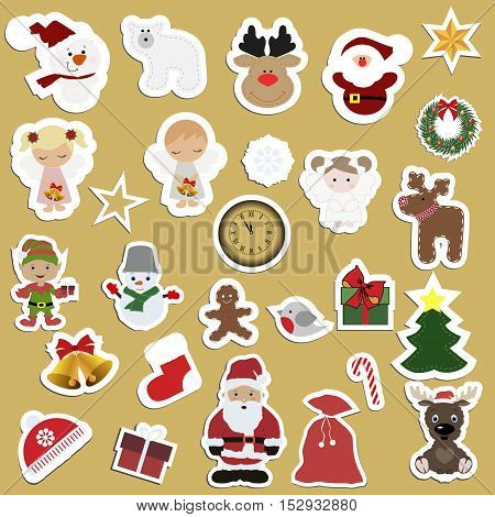 Great set of festive children's Christmas stickers. Big Christmas collection lot of label templates and toys for decoration of greeting or gift. Baby vector illustration.