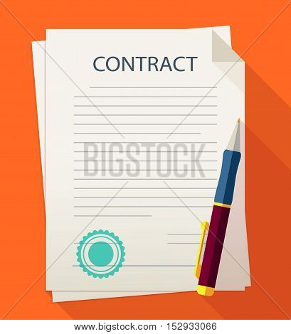 Business contract with signature and with pen vector illustration. Contract icon