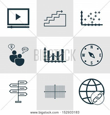 Set Of 9 Universal Editable Icons For Advertising, Seo And Statistics Topics. Includes Icons Such As