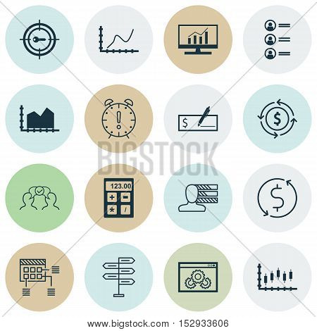 Set Of 16 Universal Editable Icons For Hr, Travel And Marketing Topics. Includes Icons Such As Money