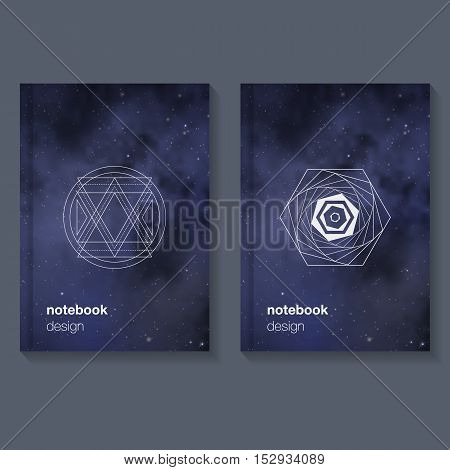 Notebook template with geometric element. Night sky with stars. Space. Vector illustration