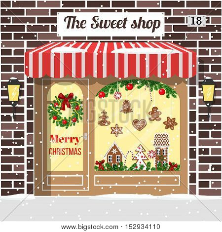Christmas decorated and illuminated sweet shop candy store, confectionery store . Cozy Brick building facade with entrance, awning, door, shopfront, gingerbread man, wreath, garland, vector, lamps