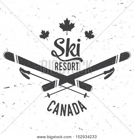 Ski resort, Canada. Concept for badge. shirt, print, seal or stamp. Ski resort typography design- stock vector.