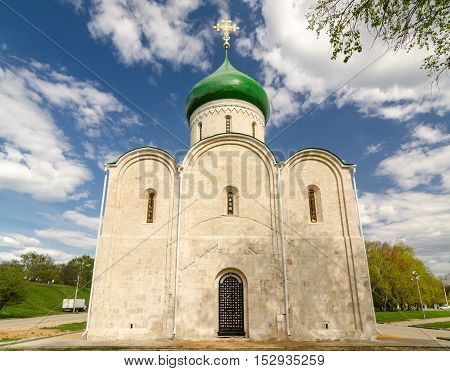 Transfiguration Cathedral in Pereslavl Kremlin founded by Yuri Dolgoruky in 1152. Pereslavl-Zalessky Russia. Golden Ring of Russia.