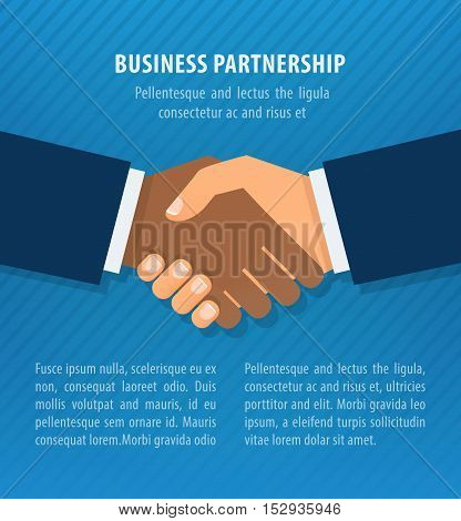 Blue handshake illustration. Partners icon. Handshake icon. Success deal. Shaking hands. Background for business and finance.