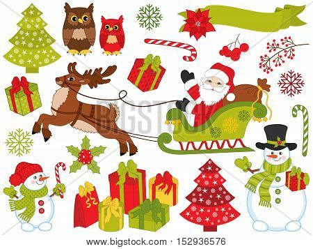 Vector Christmas set with Santa Claus, snowman, owls, deer, berried, tree, poinsettia