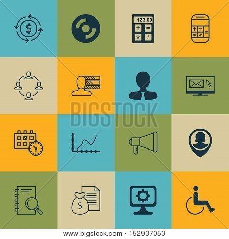 Set Of 16 Universal Editable Icons For Human Resources, Computer Hardware And Statistics Topics. Inc