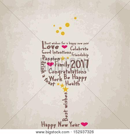 Sfondo con bicchiere per augurare un buon 2017