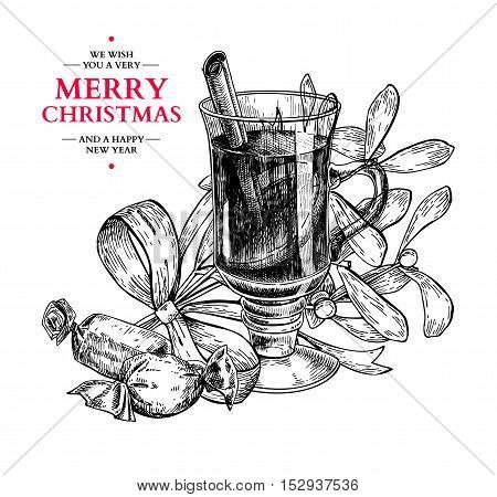 Christmas greeting card.Vector hand drawn illustration with holly, mistletoe, muled wine and candy. Engraved traditional xmas decoration element. Great for  and invitation card, holiday menu, banner