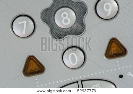front view on Security alarm keypad closeup