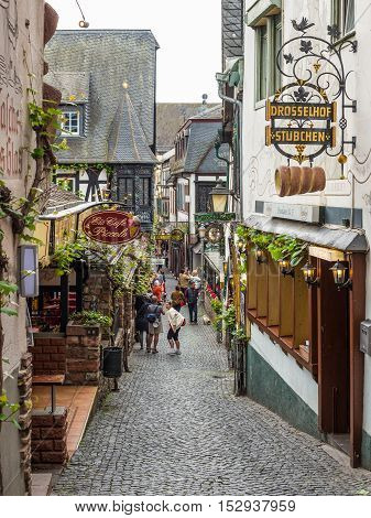 Rudesheim Germany - May 23 2016: Architecture of Rudesheim Germany. Rudesheim is a winemaking town in the Rhine Gorge and thereby part of the UNESCO World Heritage Site.