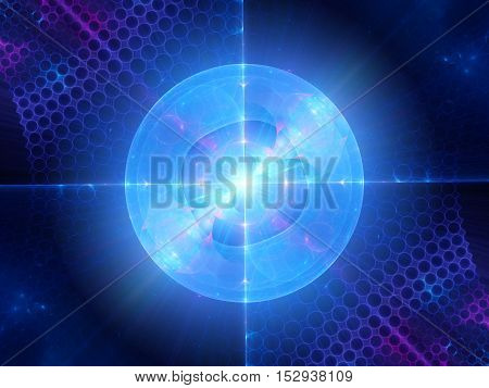 Blue glowing quantum in micro world fractal computer generated abstract background 3D render