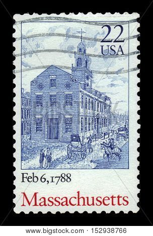 USA - CIRCA 1988: a stamp printed in United States of America shows Massachusetts, Ratification of the Constitution, 200th anniversary, circa 1988