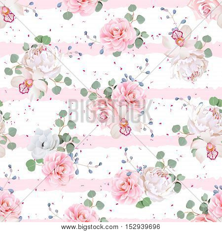Wedding bouquets of rose peony camellia orchid anemone camellia blue berries and eucaliptis leaves. Seamless vector print with pink stripes and dots.