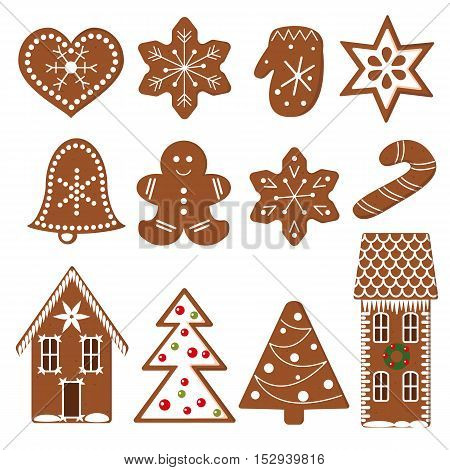 Gingerbread Christmas Cookies. Set of funny decorated gingerbread figures. Xmas tree, snowflakes, cane, heart, star, bell, detailed house, mittens. Vector design elements for postcards decoration