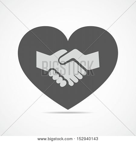 Icon silhouette of heart with handshake inside. Vector illustration. Handshake symbol. Charity and love.
