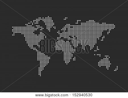 Pixel map of world. Dotted world map on a dark background. Vector illustration.