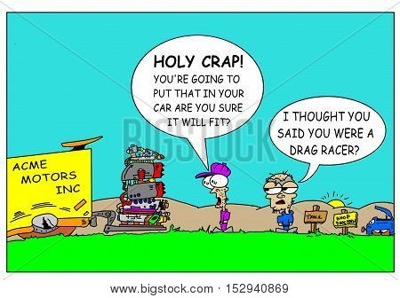 Drag racing cartoon for those that know what they can do