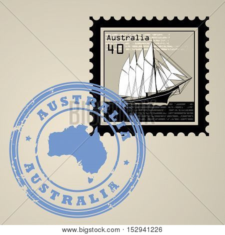 Postage stamp with sailing ship and postmark with text Australia, vector illustration