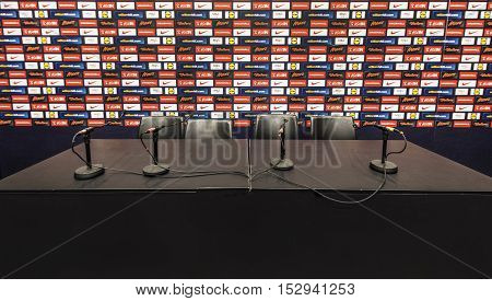 London, the UK - May 2016: in the press room at Wembley stadium