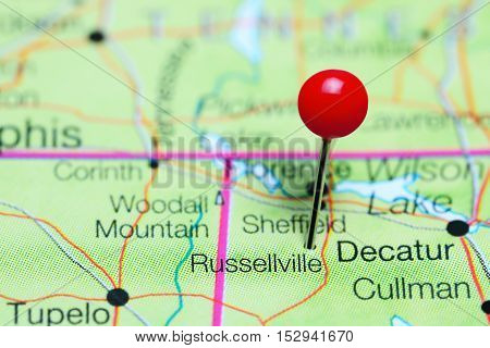 Russellville pinned on a map of Alabama, USA