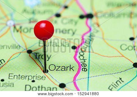 Ozark pinned on a map of Alabama, USA
