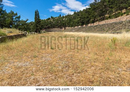 Panorama of Stadium at Ancient Greek archaeological site of Delphi,Central Greece