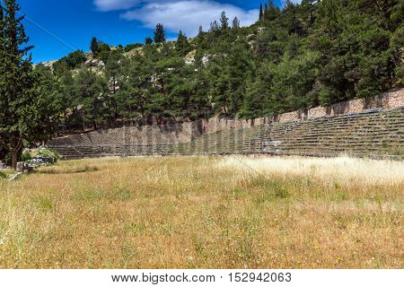 Ruins of Ancient Greek archaeological site of Delphi,Central Greece