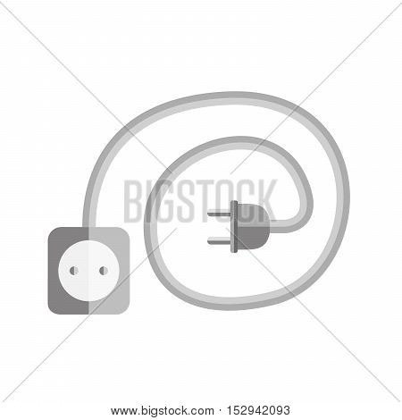 Wire plug and socket icon. Vector illustration. Plug socket and cord in flat design. Concept of connection and disconnection of the electricity.