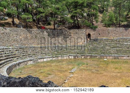 Panoramic view of Stadium at Ancient Greek archaeological site of Delphi,Central Greece