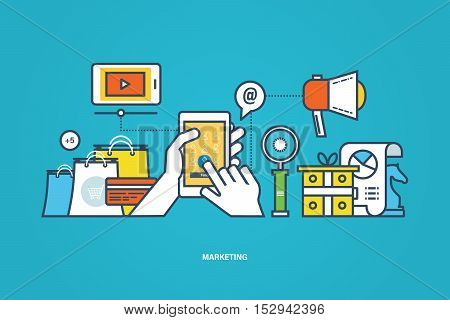 Concept of illustration - business and marketing, market research, tool for study the subject of research. Vector illustration can be used in brochures, web elements, banners, business information.
