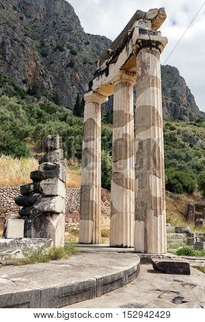 Close up view Athena Pronaia Sanctuary at Ancient Greek archaeological site of Delphi, Central Greece