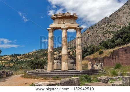 Amazing view Athena Pronaia Sanctuary at Ancient Greek archaeological site of Delphi, Central Greece