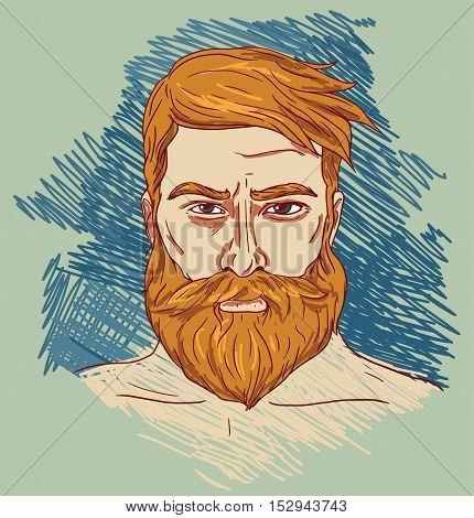Portrait of imposing man with beard, vector illustration