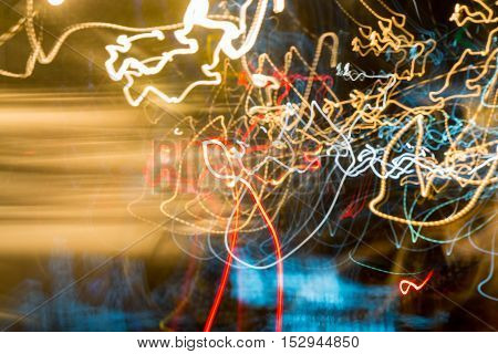 Neon blurry at motion . Abstract multicolored blurred lights background swirl trail effect . slow shutter speed effect . Light painting . at motion exposure time.
