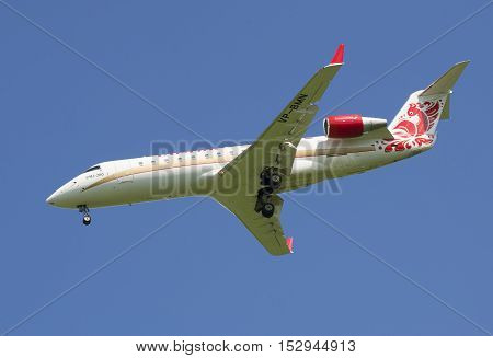 SAINT PETERSBURG, RUSSIA - JUNE 29, 2015: Aircraft Bombardier CRJ-200ER (VP-BMN) of airline