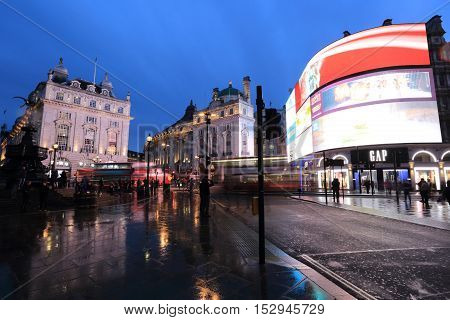 London United Kingdom - April 24 2016: Neon signs in Piccadilly Circus in London United Kingdom at dusk.