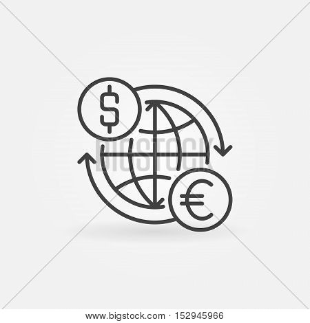 Euro to dollar convert icon. Vector international money exchange outline symbol. USD to EUR thin line minimal sign