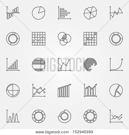 Graph icons set. Vector collection of business graphs and charts concept signs in thin line style
