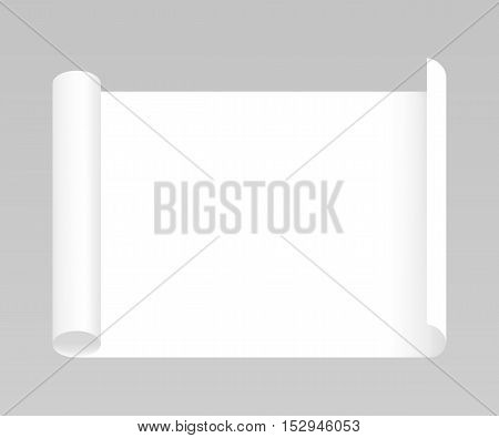 Blank realistic whatman paper, vector mockup illustration