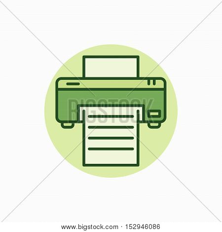 Printer green icon. Vector printer with paper symbol or logo element. Document printing concept sign