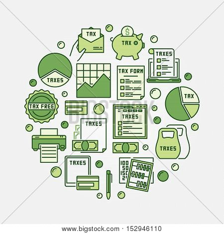 Tax round green illustration. Vector colorful paying taxes concept sign