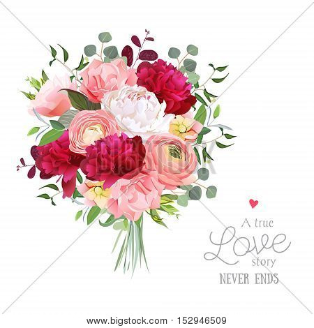Luxury autumn vector bouquet with ranunculus peony rose carnation green plants on white vector design set. Bunch of flowers in modern mixed style. All elements are isolated and editable.