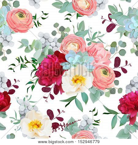 Autumn mixed bouquets of peony ranunculus succulents wild rose carnation brunia and eucaliptus leaves on the white background. Vector seamless pattern with flowers.
